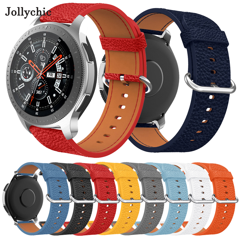 22mm Watch band Strap for <font><b>Samsung</b></font> Galaxy Watch <font><b>46mm</b></font> band Genuine <font><b>Leather</b></font> Gear s3 WatchBand Quick Release For Amazfit Pace Strap image