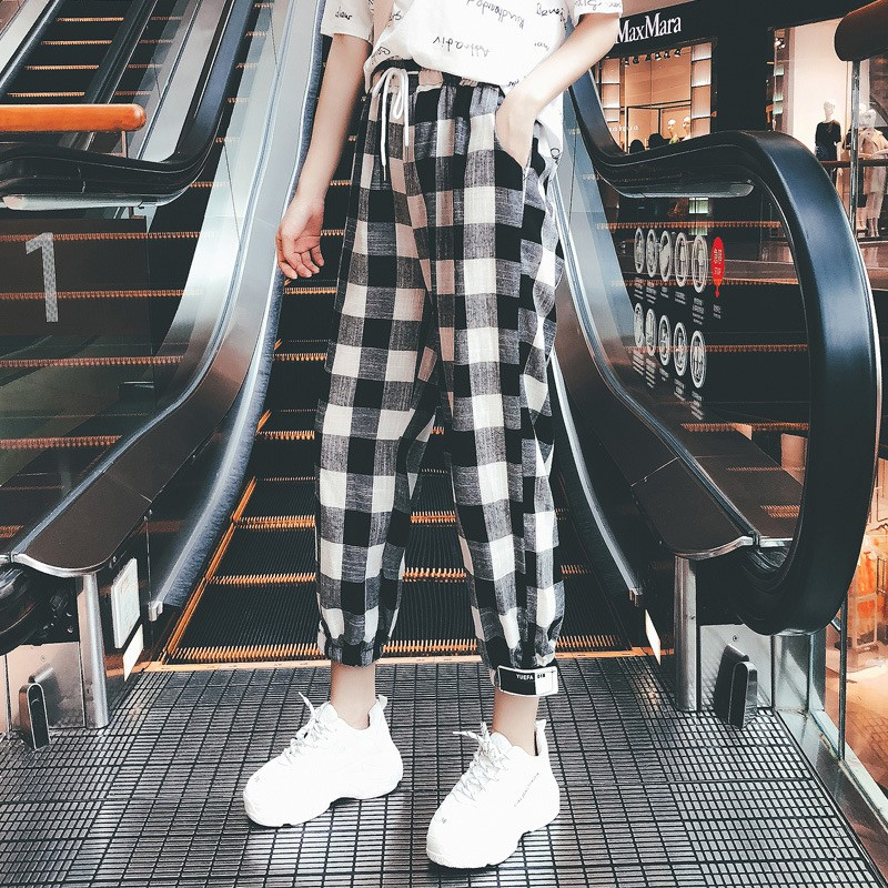 Women Black White Plaid Harem Pants Autumn Casual Pants Clothes Loose Drawstring Pants