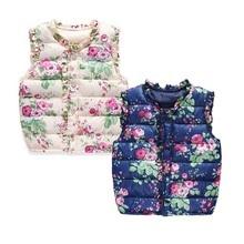 Зимний толстый жилет для девочек Верхняя одежда Детские теплые жилеты с цветочным принтом детские пальто для детей от 2 до 9 лет, костюм темно-осенняя одежда для маленьких девочек