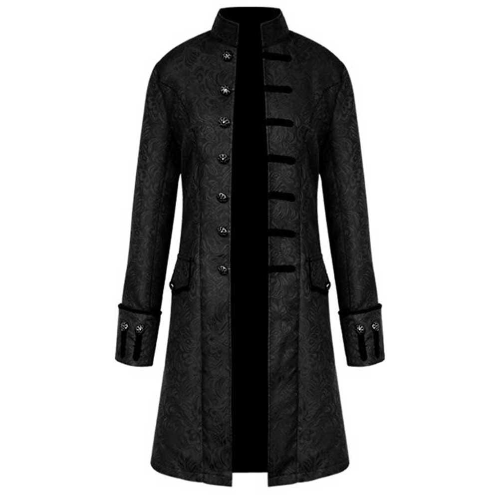 Men Casual Winter Warm Vintage Tailcoat Jacket Overcoat Outwear Buttons Coat High Collar Button Decoration Long Innrech Market.com
