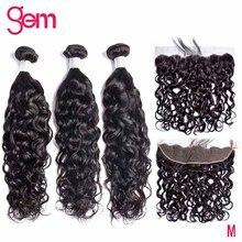Tissage de cheveux brésiliens naturels Remy ondulés, avec Frontal 13x4, couleur naturelle, lot de 3 extensions de cheveux