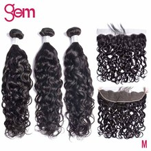 Water Wave Bundles With Frontal Brazilian Human Hair Weave 3 Bundles With13x4 Frontal Natural Color GEM Remy Hair Extension