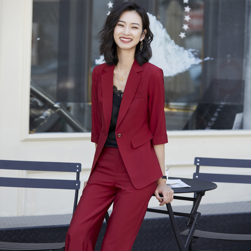 2020 Business Pant Suit Uniform Female Elegant Formal Office Lady Jacket And Long  Black Blazer Set Women OL 2 Two Pieces Suits