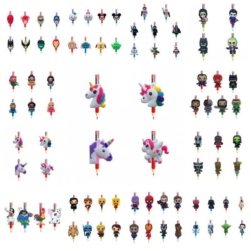 18pcs/lot Avengers Moana Groot Cartoon PVC Pencil Toppers Souvenir Pen Caps Office School Stationery Kids Birthday Gift