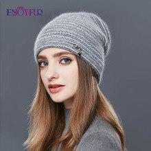 Enjoyfurウサギのカシミヤニット冬の帽子女性混合色厚い女性skulliesビーニー暖かい重力落下キャップ女性の帽子