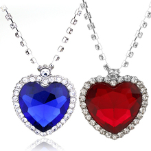 Women necklace Titanic Heart of the Sea Necklaces Blue Red Romantic Chain Pendant Necklaces Fashion Wedding Jewelry Gifts special new fashion opal maxi necklace romantic waterdrop necklaces