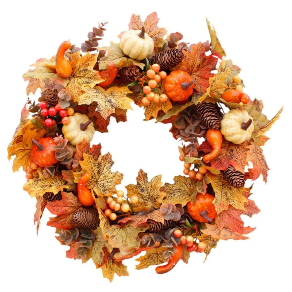 top selling product in 2020 Pumpkin Maple Wreath Autumn Festival Wreath Door Hanging Home Decor Support Wholesale Dropshipping