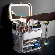 Makeup-Mirror Cosmetic Light Storage-Box LED with Lipstick-Finishing-Box Drawer-Type