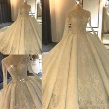 Luxurious Long Sleeve Lace Wedding Dresses 2019 Ball Gown Crystal Bridal Gowns Hot Sale Train