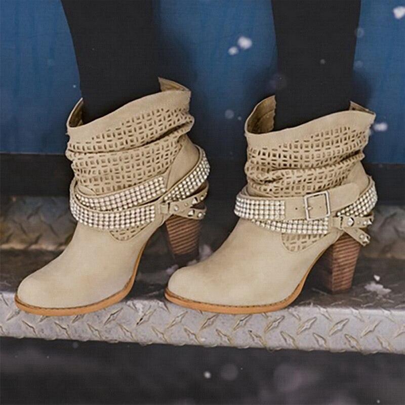 Image 5 - Litthing/зимние ботинки; женские полусапожки на высоком каблуке с заклепками и кристаллами; повседневная женская обувь из искусственной кожи с пряжкой; Botines Mujer; 2019-in Полусапожки from Обувь