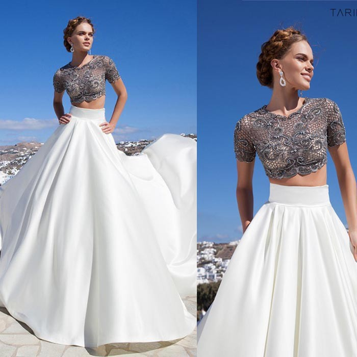 Free Shipping Evening Dress 2019 Abiye Gece Elbisesi Robe De Soiree Short Sleeve Long Prom Gown Two Piece Lace Formal Dress
