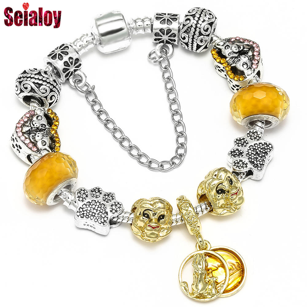 Seialoy Fashion Lion Charm Kids Bracelet & Bangle Original Animal Heart Shaped Beads Bracelets For Women Men Popular Jewelry