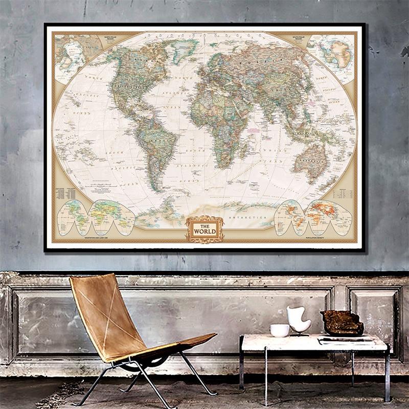 Мира физическая карта 150X100cm без рамы из нетканого материала карта складная карта мира научно-исследовательских декор для стен в винтажном с...