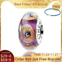 ATHENAIE véritable 925 argent noyau or coquille breloques Murano perles de verre sadapter à tous les Bracelets européens grand cadeau pour les femmes cadeaux de bricolage