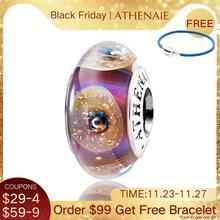 Athenaie本物のシルバー 925 コアゴールドシェルチャームムラーノガラスビーズはすべて欧州ブレスレット女性のためのdiyギフト