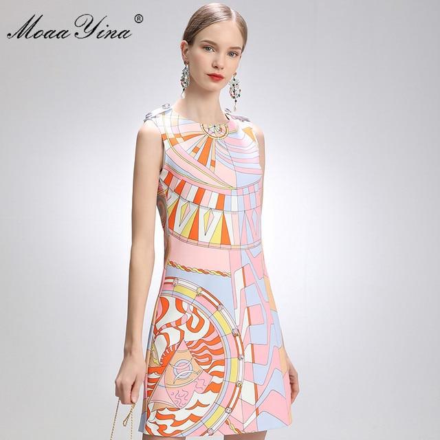 MoaaYina Fashion Designer Dress Summer Women's dress Sleeveless Beaded Geometry Print Short Dresses 1