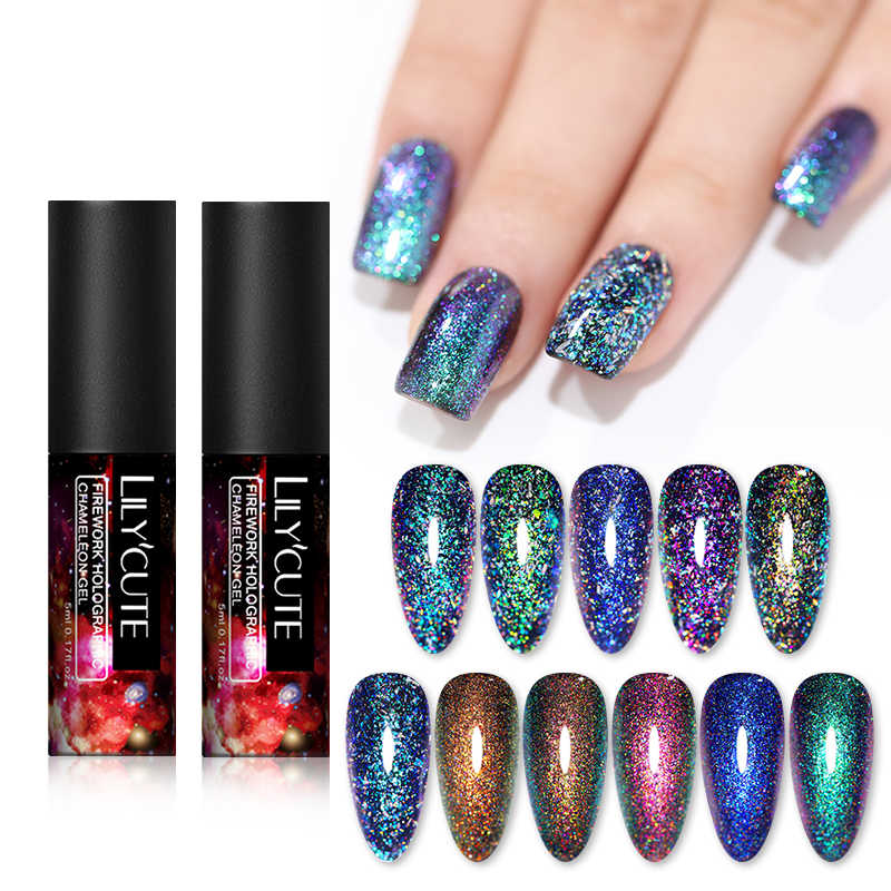 Lilycute Chameleon Gel Polandia Flakies Holographics Uv Gel Varnish Glitter Hybrid Pernis Hitam Dasar Diperlukan Rendam Off Gel Memoles