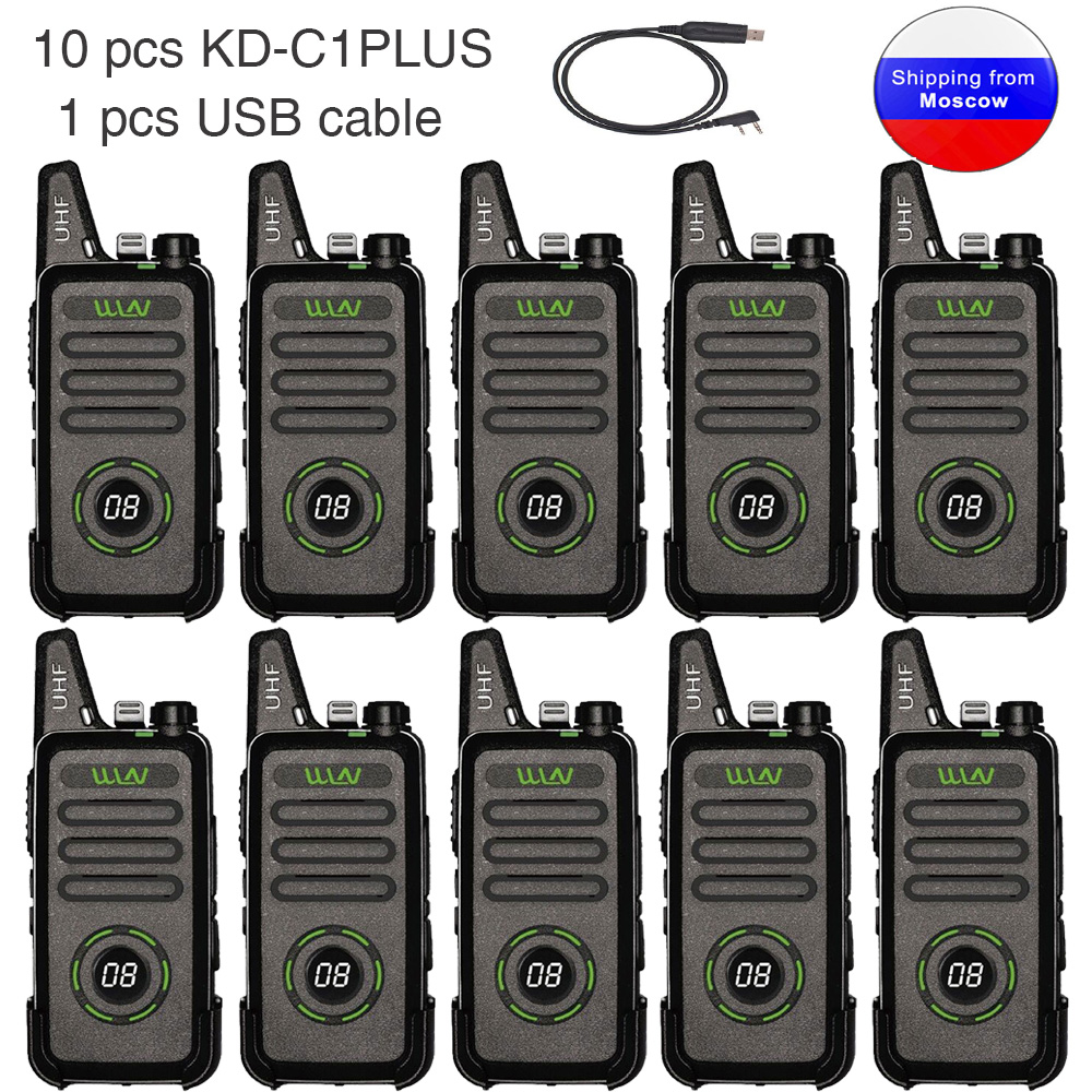 10pcs WLN KD-C1plus Mini Radio UHF 400-470MHz Slim Transceiver KDC1plus Walkie Talkie KD-C1 Upgraded