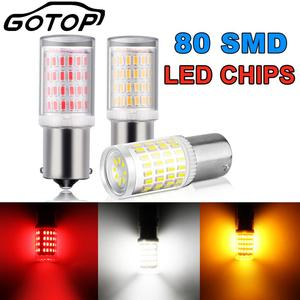 Image 1 - 1pcs 1156 BA15S P21W 1157 BAY15D LED נורות 80SMD 3014 שבבי סופר בהיר 1200LM 3D תאורת רכב הפעל אות אורות הפוך 12V