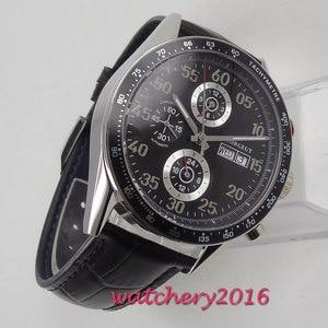 Image 4 - 44mm Corgeut siyah kadran üst marka lüks paslanmaz çelik kasa deri kayış tarih otomatik hareketi erkek saati