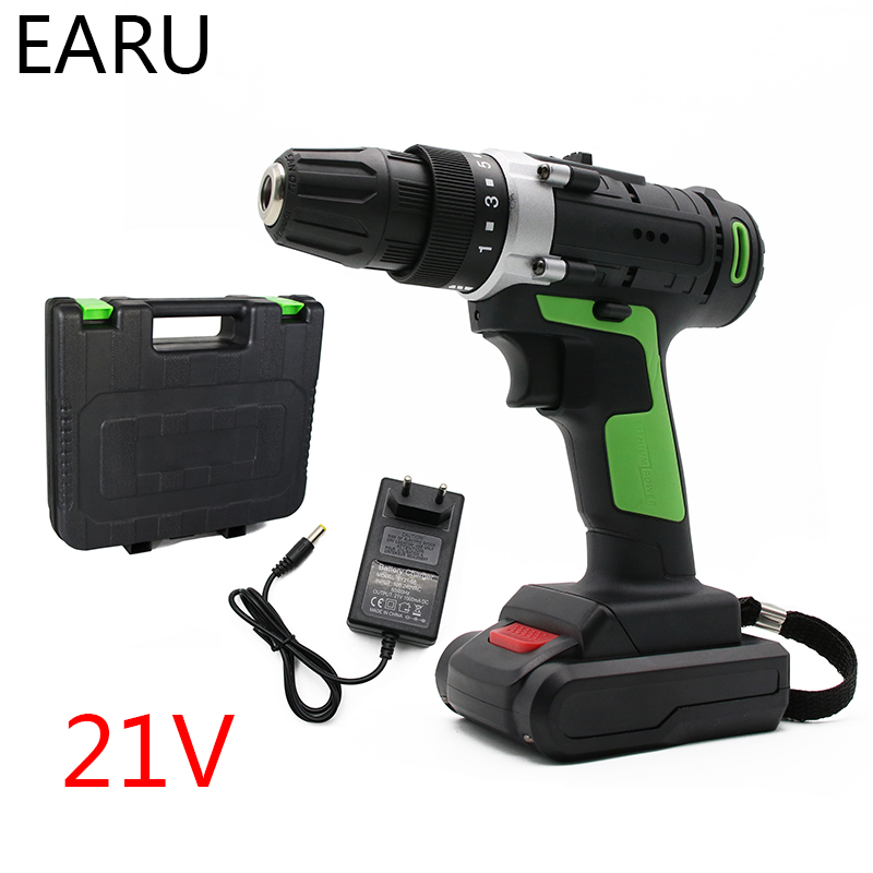 21V Max Wireless Rechargeable Electric Screwdriver Cordless Drill Mini Power Driver DC Lithium-Ion Battery 3/8-Inch 2-Speed Tool