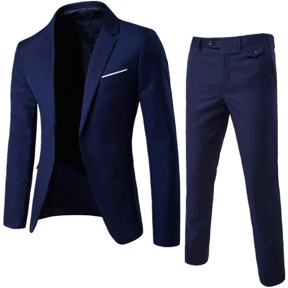 Erkekler bahar 2 adet klasik Blazers takım elbise setleri erkekler iş Blazer + pantolon takım elbise setleri 2019 sonbahar erkekler düğün parti seti
