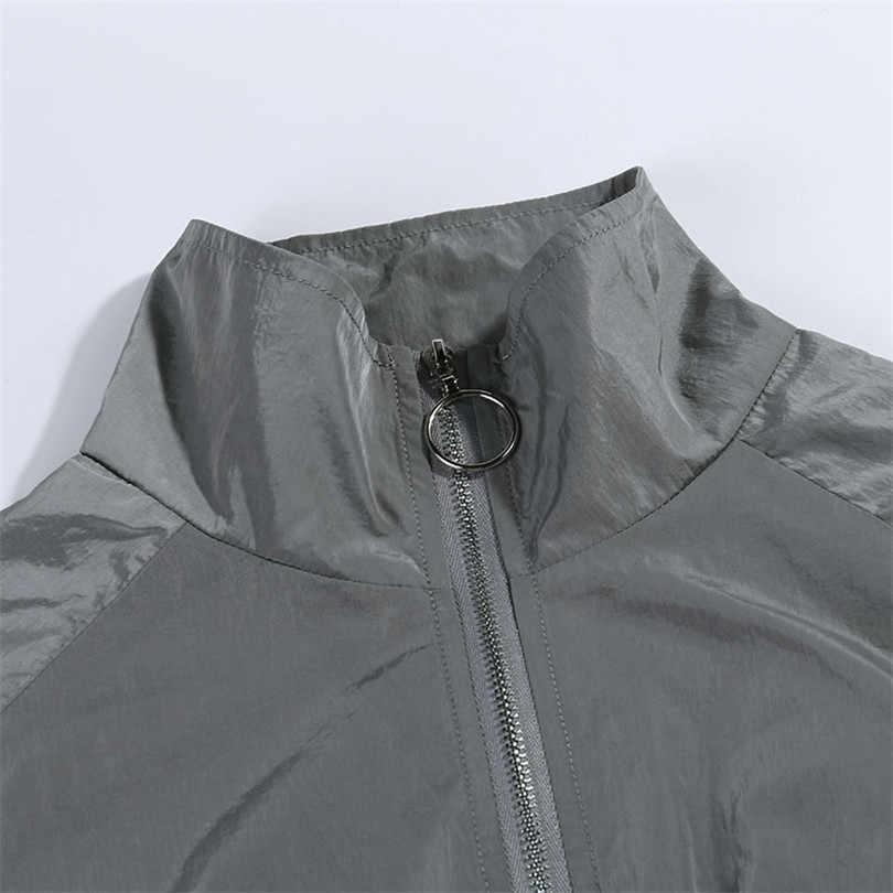 EISHOW אפור אימונית רעיוני פלאש צד Zip אבזם נשים שתי חתיכה להגדיר סתיו יבול למעלה מכנסיים מטען מזדמן Streetwear סטים