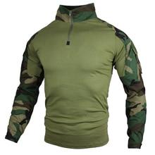 גברים טקטי חולצות ארוך שרוול צבאי צבא חולצה זכר Combat T חולצה חייל אחיד הסוואה למעלה טי בתוספת גודל S 5XL