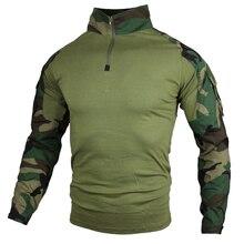 Homens camisas táticas de manga longa militar do exército camiseta masculino combate t camisa soldado uniforme camuflagem camiseta superior plus size S 5XL
