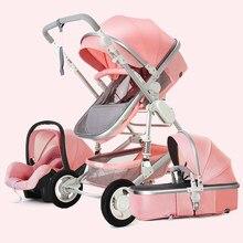 Haute paysage bébé poussette 3 en 1 avec siège auto bébé poussette et siège auto poussette ensemble infantile nouveau-né bébé poussette chariot