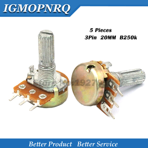 5pcs WH148 3PIN 20MM B250k 250K Ohm Single couplet potentiometer With Nuts