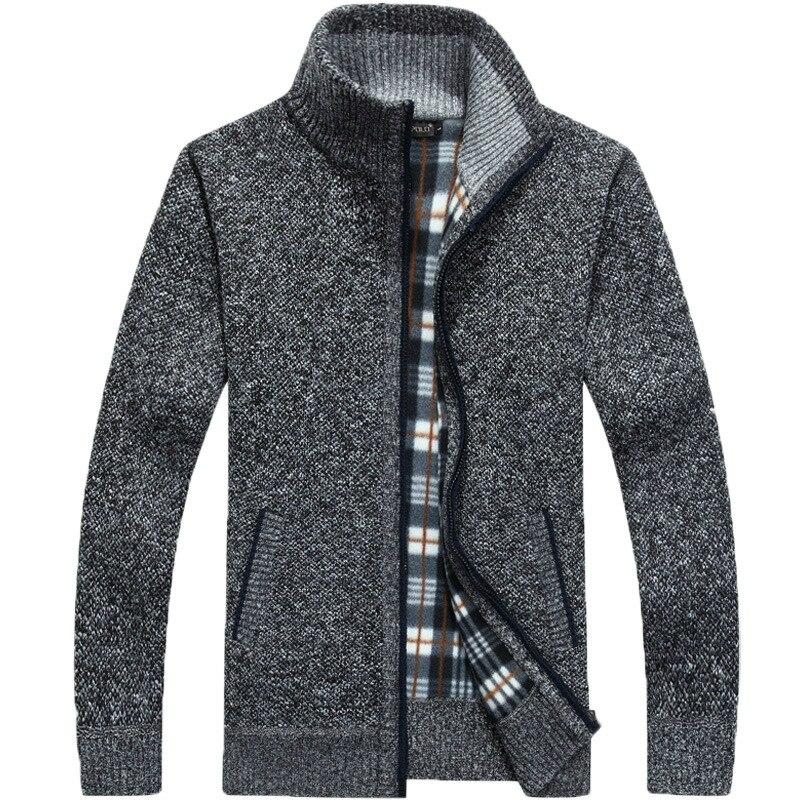Jackets Knitwear Sweatercoat Faux-Fur Zipper Autumn Men's Winter Thick Casual Warm M-3XL