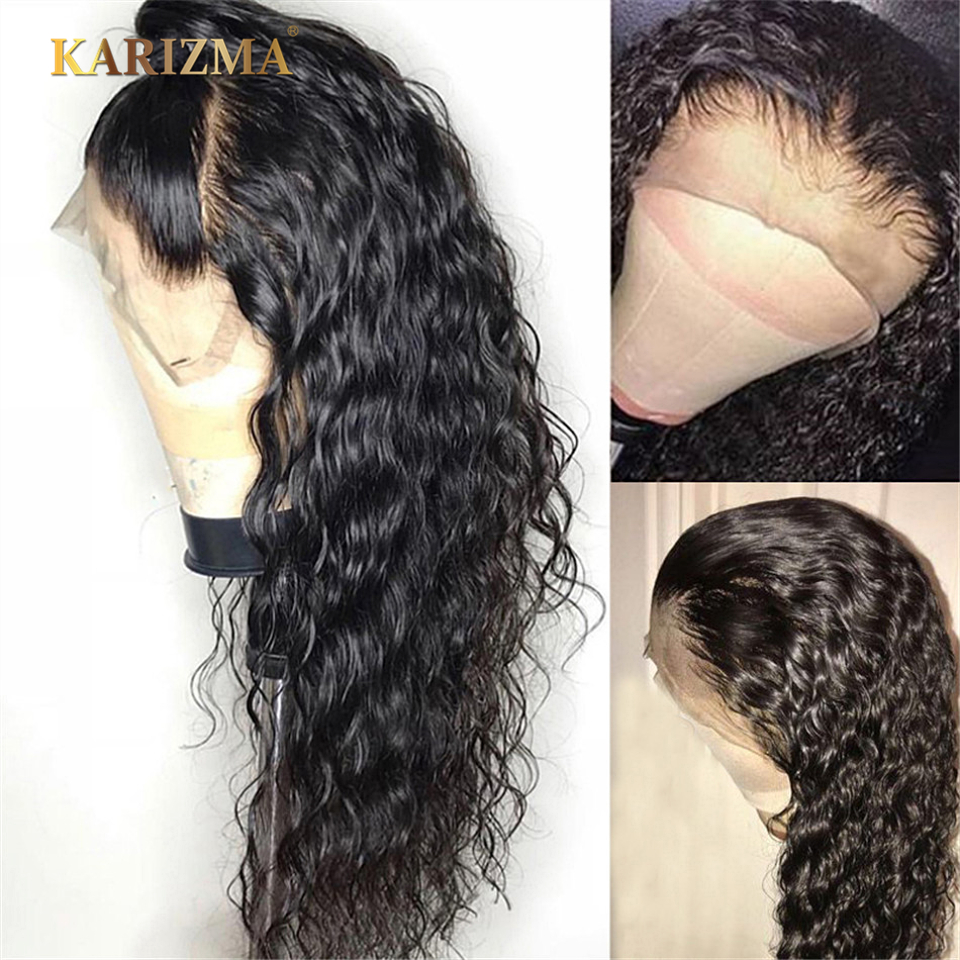 Peruvian Water Wave Lace Front Human Hair Wigs 13X4 Front Lace Wig With Baby Hair Pre Plucked Natural Hairline 150% Karizma
