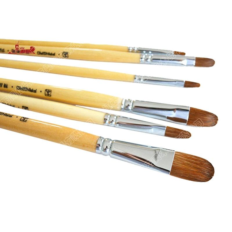6Pcs/Set tongue peak weasel hair Natural color birch Pole row pen Art painting materials Set oil painting brush art supplies