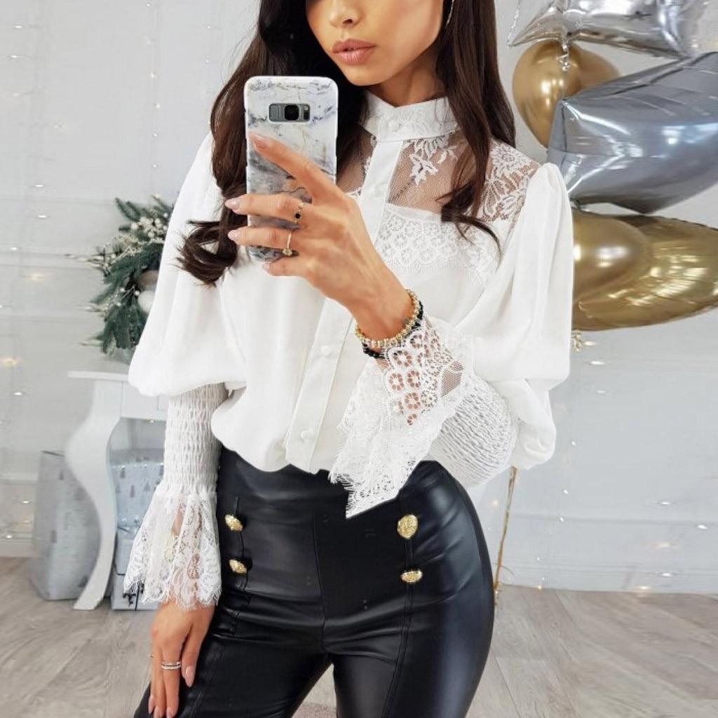 Patchwork Lace Puff Sleeve Blouse Shirts Women O Neck Fashion Office Lady Black White Shirt Top Elegant Luxury Brand Blouses Blouses & Shirts  - AliExpress