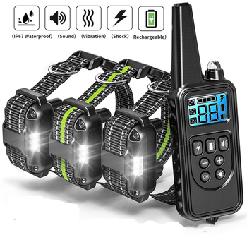 800m Dog Training collar Electric Shock vibration sound with LED Rechargeable Adjustable Levels For dogs Training dog supplies new 800m electric dog training collar remote control waterproof rechargeable with lcd display for all size shock vibration sound