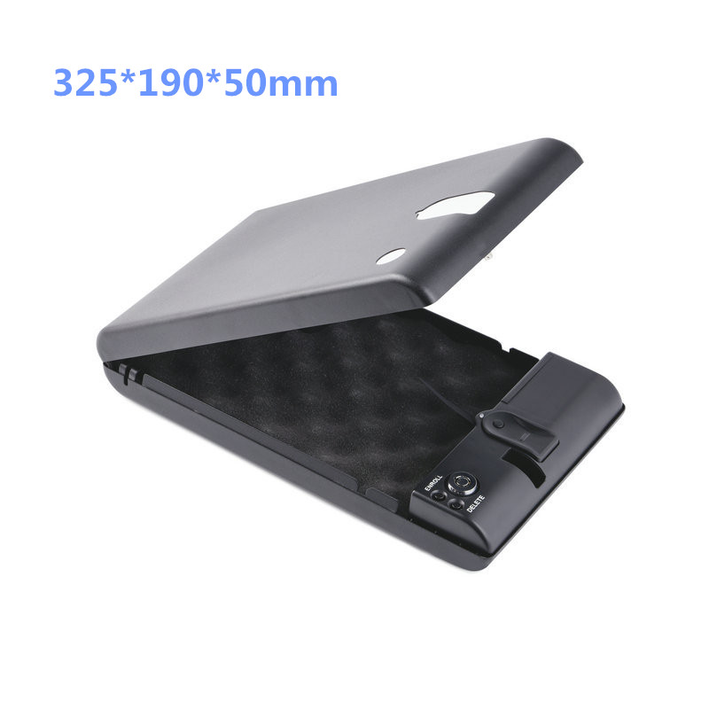 32.5*19*5CM Safe Box Fingerprint Boxes Biometric Gun Keybox Portable Safebox Strongbox Safes Safety Security Cash Car Cashbox