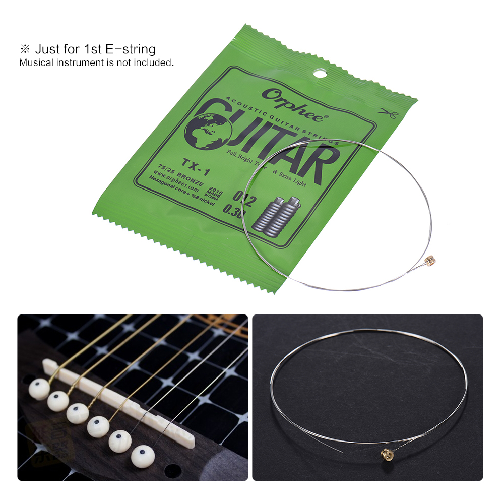Orphee TX-1 Single String Replacement for Acoustic Folk Guitar 1st E-String (.010) 10-Pack High-carbon Steel Core