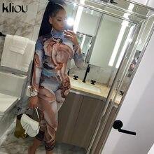 Kliou – Combinaison pour femme, tissu imprimé, col roulé, automne 2020, manches longues, tendance, élastique, vêtement de sport, tenue décontractée