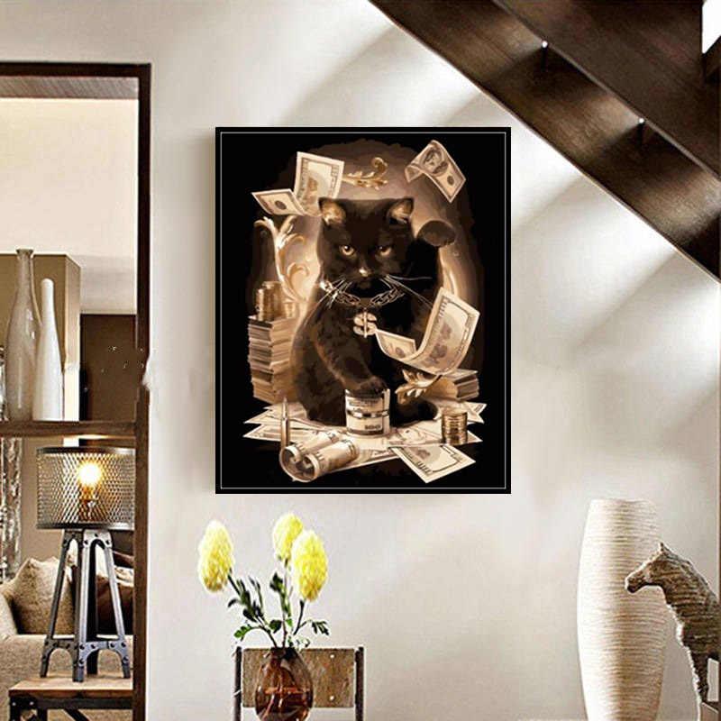 Meivn Diy Olieverf Door Getallen Kit Zwarte Kat Geld Dier Acryl Kwast Canvas Accessoires Woondecoratie