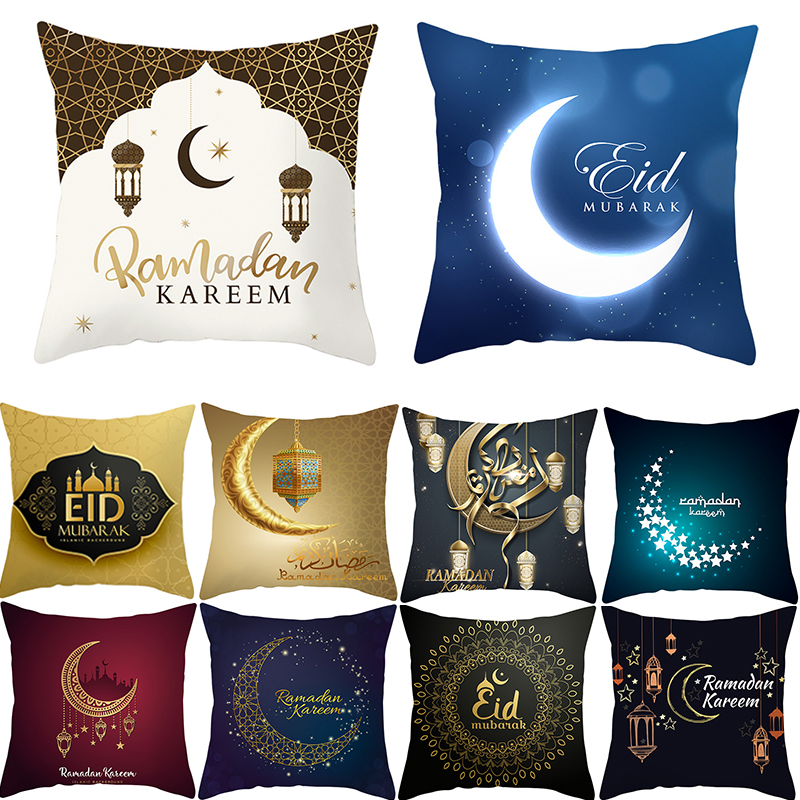 EID Mubarak Decorative Cushion Cover For Sofa 45x45cm Cotton Pillowcase For Home Decor Ramadan Kareem Pillow Case Muslim Gift