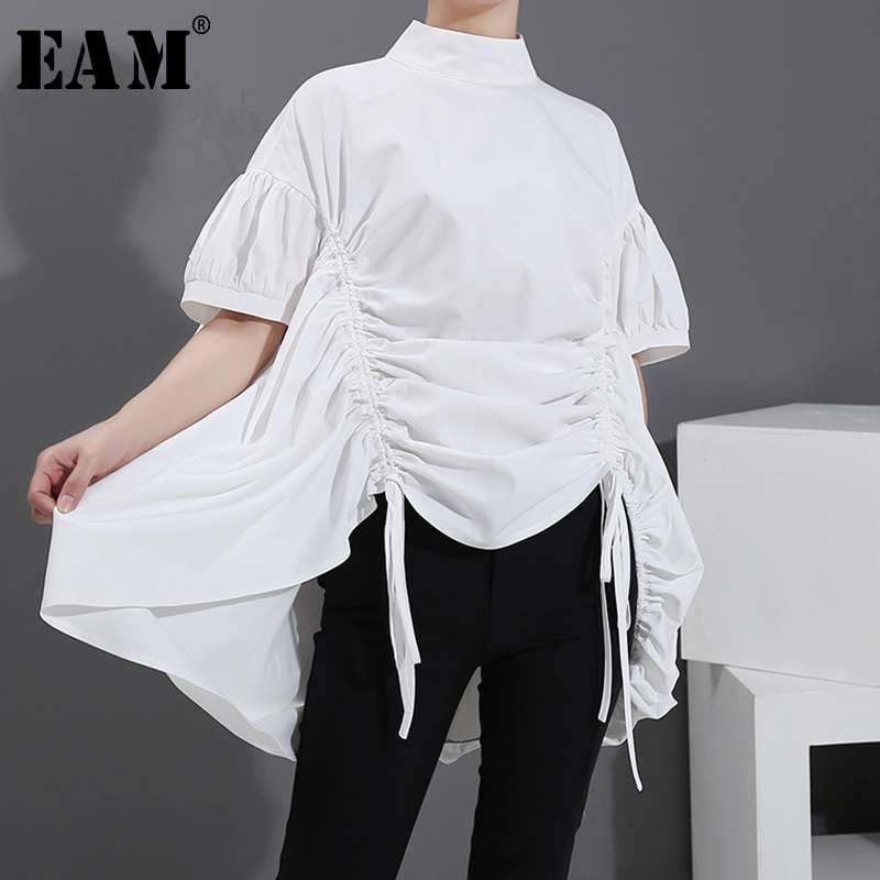 [EAM] Women White Drawstring Big Size Blouse New Stand Collar Short Sleeve Loose Fit Shirt Fashion Tide Spring Summer 2020 1S535