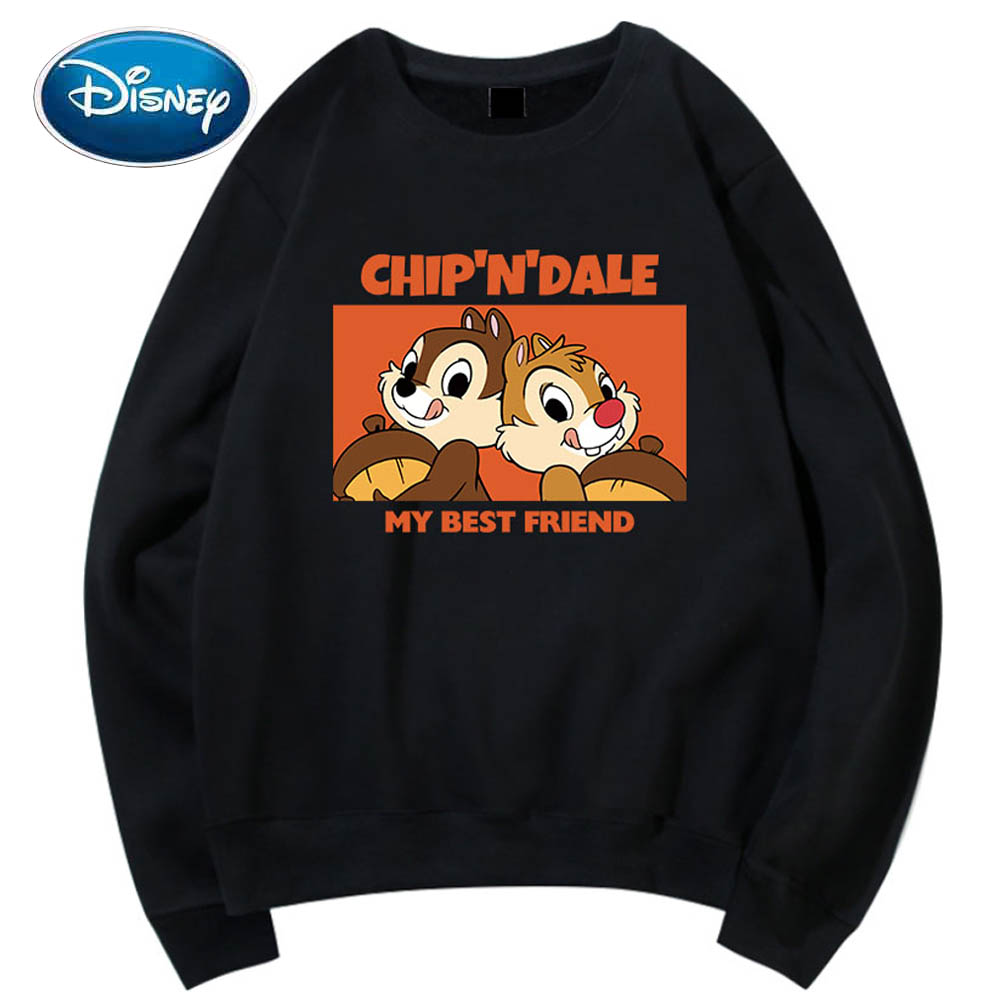 Disney Sweatshirt Chip Dale Chipmunk Cartoon Letter Print O-Neck Pullover Couples Unisex Women Long Sleeve Loose Tops 6 Colors