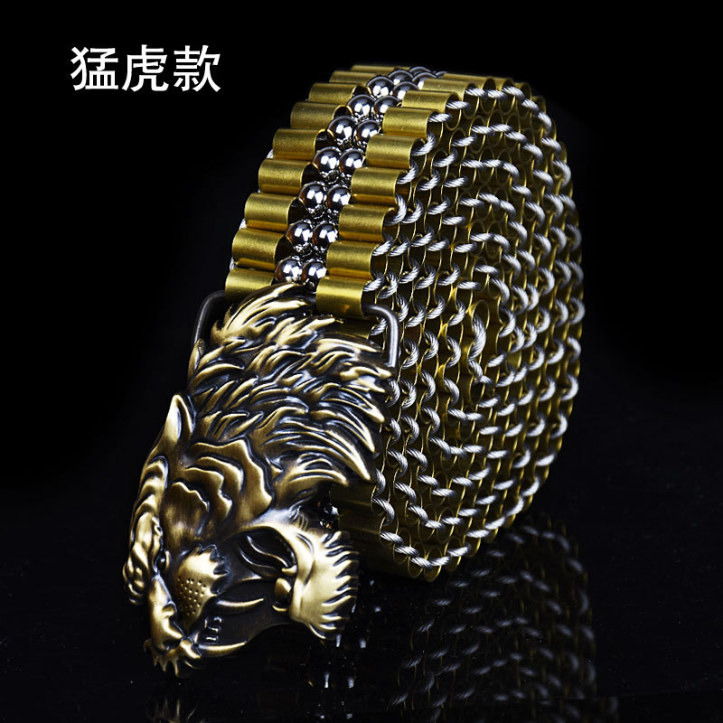 Men's Luxury Copper Dragon Buckle Metal Belt Stainless Steel Ball Belt Special High-grade Self-defense Eagle Tiger Buckle P26