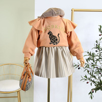 Girls Sweater 2019 autumn and winter new cat letter print ruffled stitching sleeves thickening sweatershirt