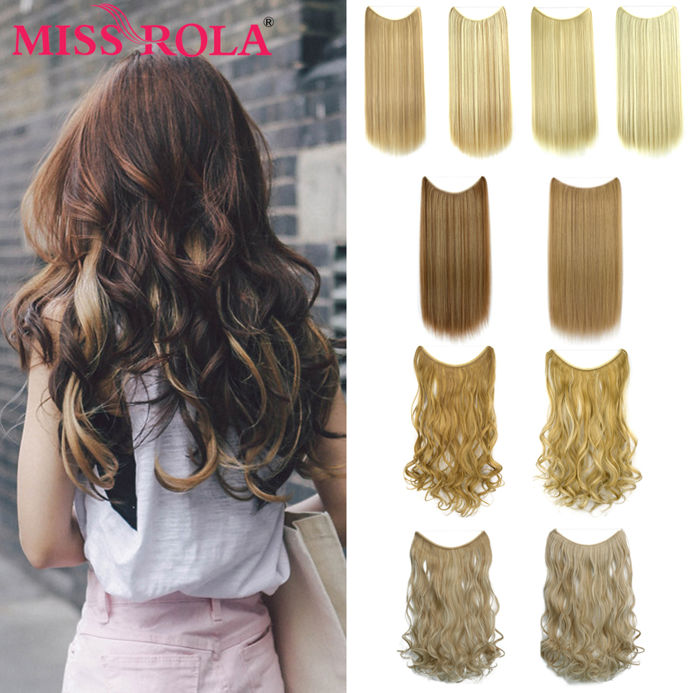 MISSROLA 24inch Long Straight 100g Invisible Wire OnePiece Pony Tail Hairpieces High Temperature Fiber Synthetic Hair Extension