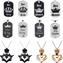New Her King and His Queen Necklaces Pendants Metal Crystal Alloy Crown heart Couple Lovers for Valentine's Day Gifts Jewelry цена