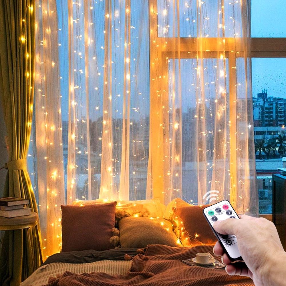 3m LED garland perde dize ışıkları uzaktan kumanda USB peri ışık ev dekorasyon pencere düğün parti tatil aydınlatma