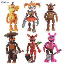 Cinco noites no freddy 13-15cm figuras de ação pvc brinquedos bonnie foxy freddy fazbear urso moveable modelo brinquedos para presentes de natal