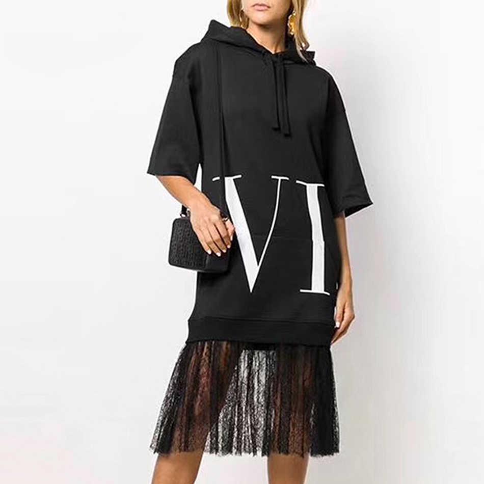 Kadın's Casual kapşonlu elbise sonbahar siyah uzun kollu mektup dantel dikiş elbise kadin 2019 moda seksi parti elbise